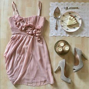 BCBGMaxAzria pink draped floral cocktail dress 6